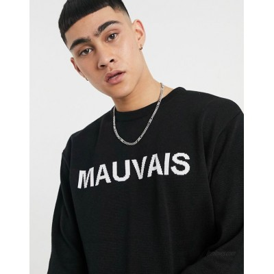 Mauvais knitted sweater with logo in black