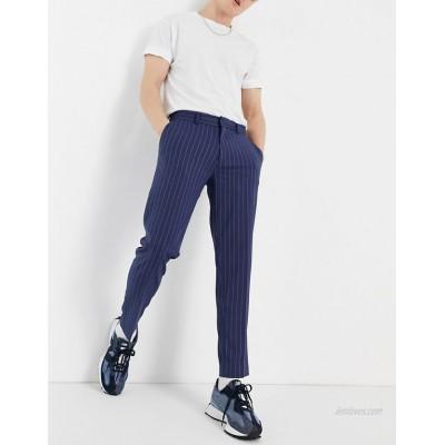 DESIGN skinny crop smart pants in navy and stone pinstripe