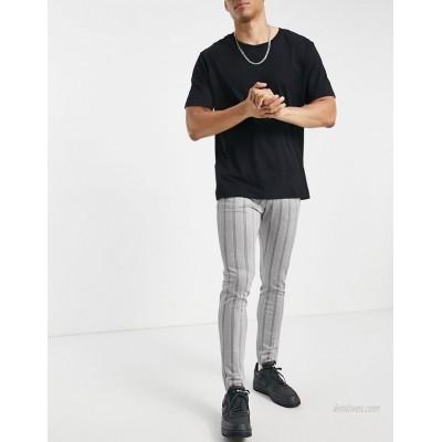 DESIGN skinny stripe smart pant in jersey herringbone