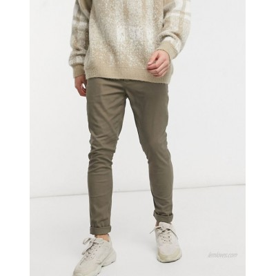 DESIGN super skinny chinos in ankle length in brown