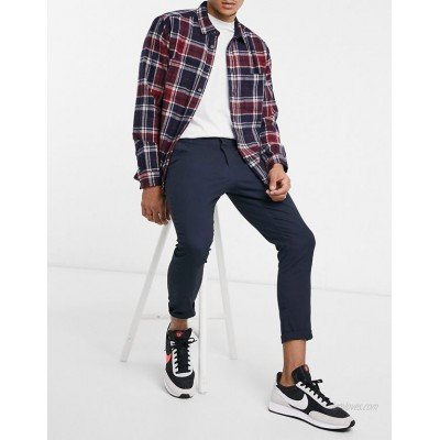 DESIGN super skinny cropped chinos in navy