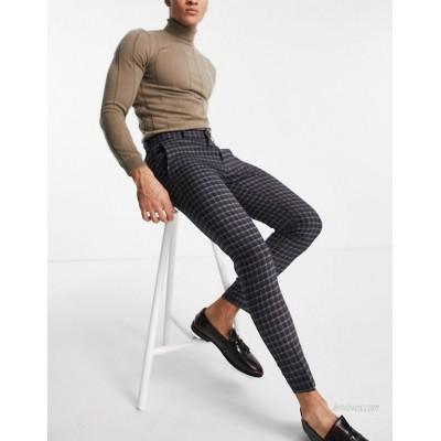 DESIGN super skinny smart pants in micro check