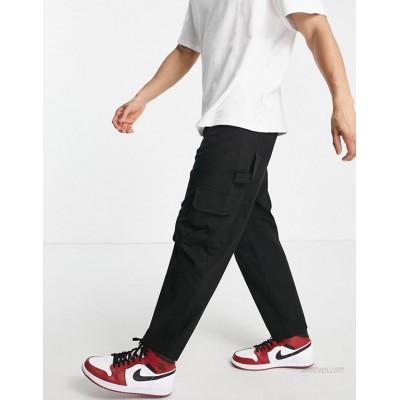 DESIGN carpenter wide leg pants in black