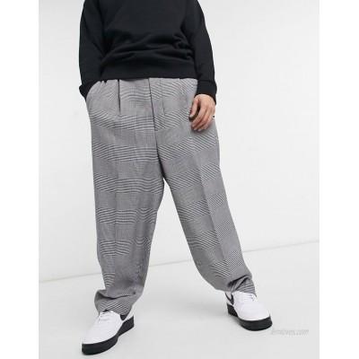 DESIGN balloon smart pants in gray plaid