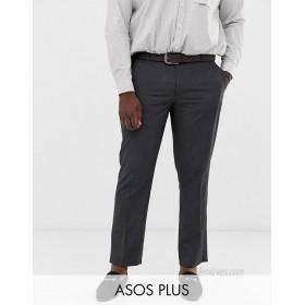 DESIGN Plus slim smart pants in charcoal