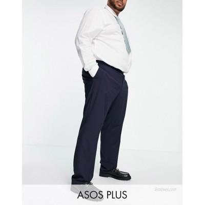 DESIGN Plus slim smart pants in navy