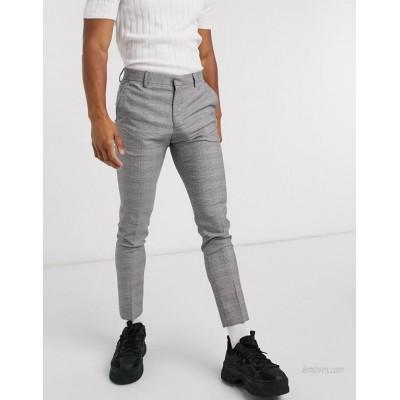 DESIGN super skinny dressy pants in monochrome plaid