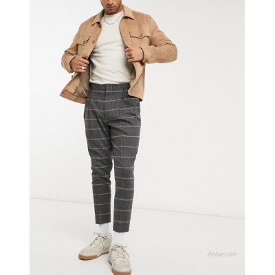 DESIGN tapered double pleat smart pants in wool-blend plaid