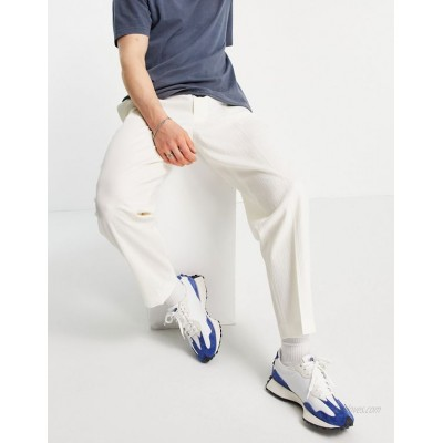 DESIGN tapered smart pants in white crinkle cotton linen