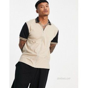 DESIGN relaxed jersey shirt with contrast sleeves