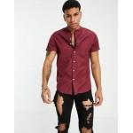 DESIGN slim fit organic cotton oxford shirt in burgundy with grandad collar