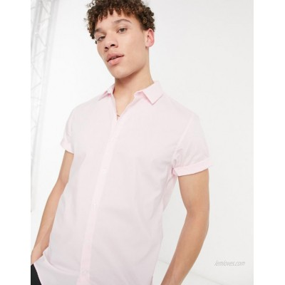 DESIGN stretch slim fit shirt with in pink