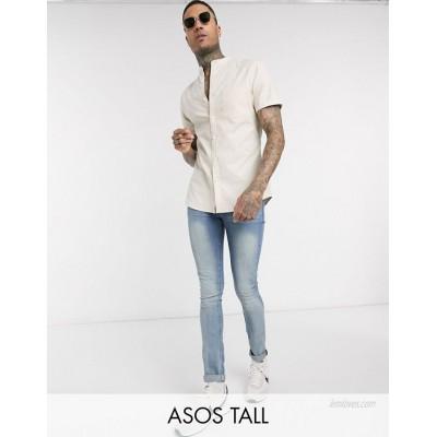 DESIGN Tall short sleeve slim fit oxford shirt in yarn dye beige with grandad collar