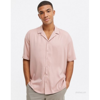 New Look short sleeve oversized satin shirt in pink