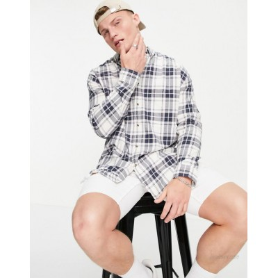 DESIGN 90s oversized check shirt in white and pink