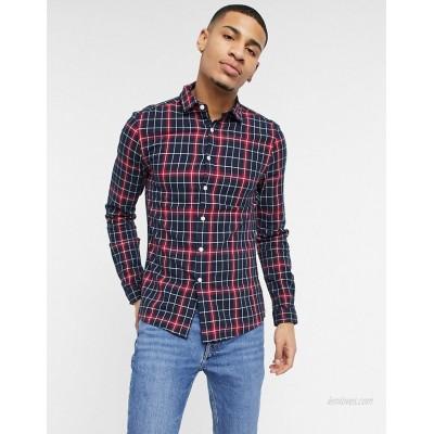 DESIGN stretch slim plaid shirt in navy