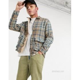 DESIGN zip up overshirt in beige plaid