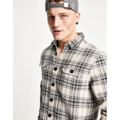 New Look long sleeve check overshirt in white