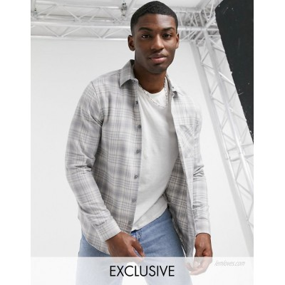 New Look long sleeve checked shirt in light gray