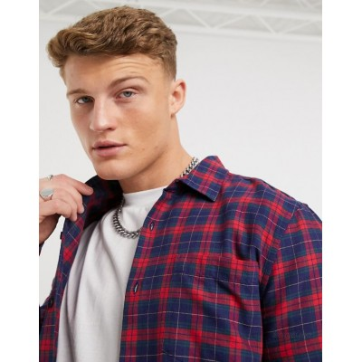 New Look plaid shirt in red and navy