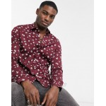 DESIGN stretch slim shirt with all over print in burgundy