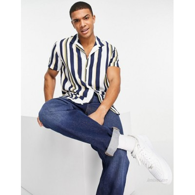 Selected Homme vertical stripe shirt with revere collar in multi color