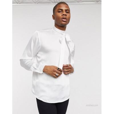 DESIGN regular fit tie front satin shirt in ivory
