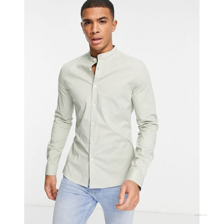 DESIGN skinny fit long sleeve shirt with grandad collar in sage green