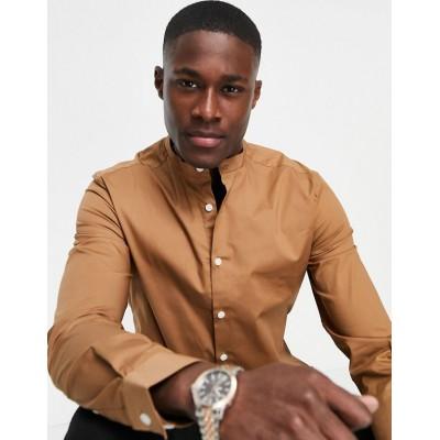 DESIGN skinny fit shirt with grandad collar in light brown