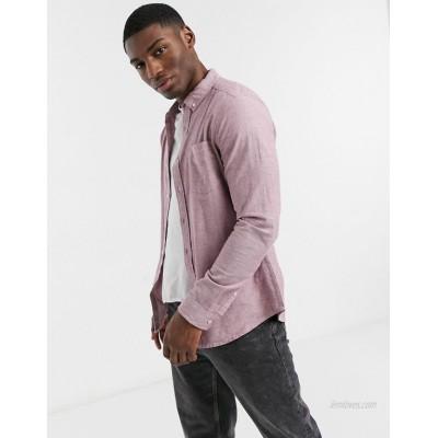 DESIGN slim fit yarn-dye organic oxford shirt in burgundy