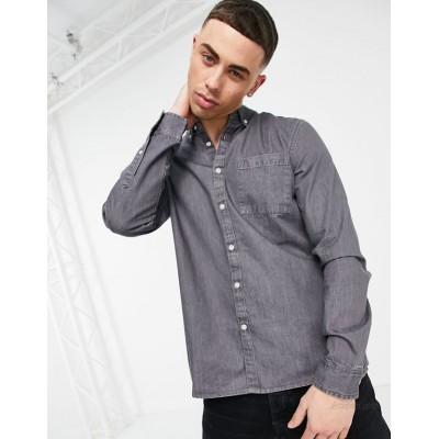 New Look denim shirt in mid gray