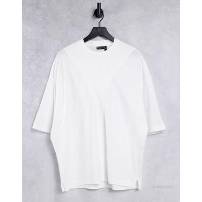 DESIGN oversized cut & sew t-shirt in white