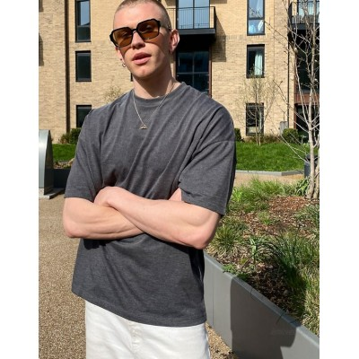 DESIGN oversized t-shirt with crew neck in charcoal marl