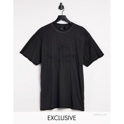 Reclaimed Vintage Inspired front print T-shirt in charcoal
