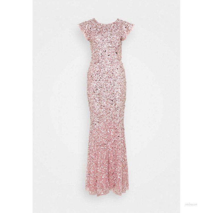 Maya Deluxe ALL OVER EMBELLISHED FLUTTER SLEEVE MAXI DRESS Occasion wear pink