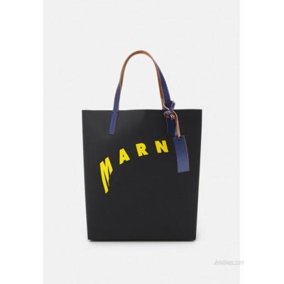 Marni SHOPPING BAG - Tote bag - black/yellow/bluette/black