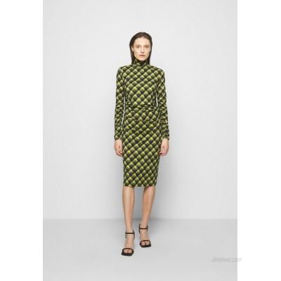 Proenza Schouler White Label SHEER DRESS Jersey dress olive/black brushed plaid/mottled olive