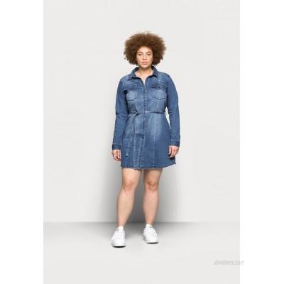 ONLY Carmakoma CARNETTE LIFE BELT TUNIC DRESS Denim dress medium blue denim/blue denim