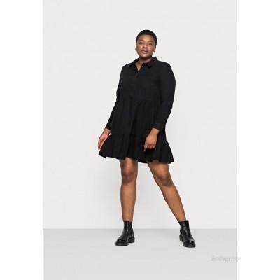 Vero Moda Curve VMMARIA FRILL SHORT DRESS Denim dress black